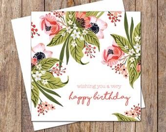 Female Birthday Card. Greeting Card. Birthday Card For Her. Flower Card. Garden Lover Card. Happy Birthday Gift Card. Flower Birthday Card