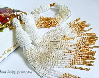 Earrings bracelet wedding jewelry beads Japanese Toho 15 exclusive luxury gold silver