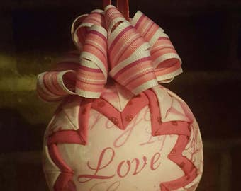 Handmade Breast Cancer Awareness Quilted Ornament