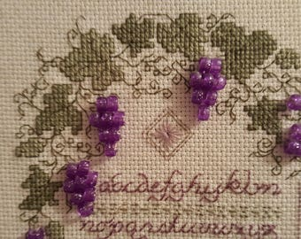 Cross Stitch,Completed Cross Stitch,Finished Cross Stitch,Vintage Cross Stitch,Beaded Cross Stitch,Needle Work,Alphabet Sampler