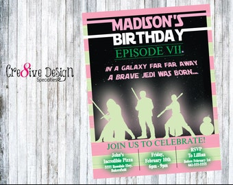 Star Wars Girls Birthday Custom Printable Invitation, Jedi Master, Star Wars Girl, May The Force Be With You, The Force Awakens