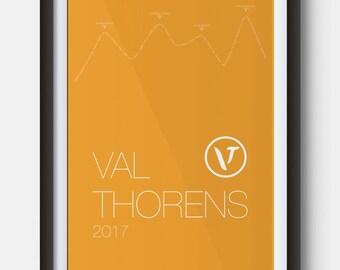 A4 Val Thorens Ski Resort Poster Art