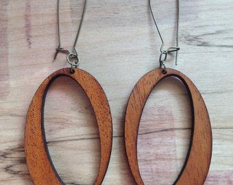 Wood Earrings - Mahogany Slanted O Hoops
