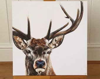 Stag - limited edition canvas print. Stag painting - stag picture - stag print - stag decor.