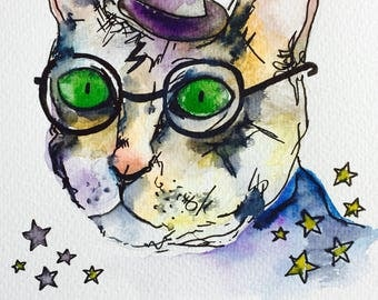 Harry Potter inspired Cat Greetings Card Catty Potter