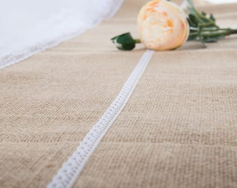"Natural Jute Burlap Table Runner with White Lace 12"" Wide,  Vintage Wedding Decorations, Bridal Shower, Baby Shower, Rustic Decor."
