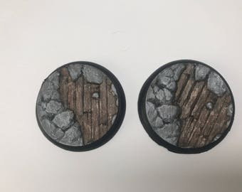 50MM Wooden Board and Stone Base (pack of 2) Hand Painted