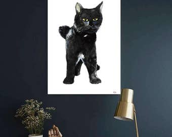 Black Cat Art print Black Cat watercolor painting Cat wall decor Black Cat painting Black Cat home decor Black Cat Poster