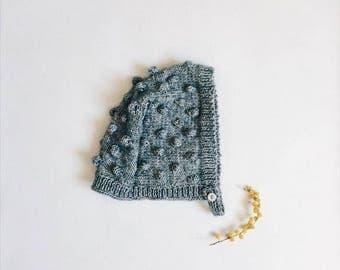 Baby bonnet, baby bonnet popcorn knit - cotton bonnet - size 0-6 months - workshop me