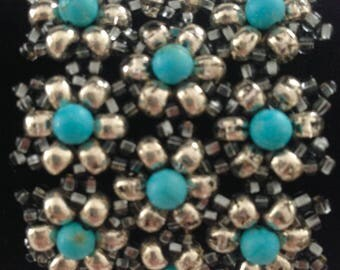 Beaded Flower Bracelet, Cuff Bracelet, Beaded Bracelet, Turquoise Bracelet, Silver Bracelet, Unique Bracelet