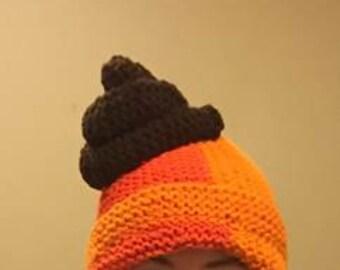 Turd head, knit hat. Poop