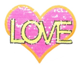 Free Shipping! Neon Sequins Heart Love Iron-On Patch, Sequins Applique