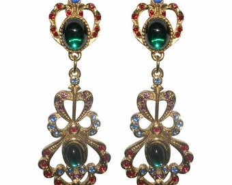 Earrings Clips VINTAGE SPHINX - Neo Classic Victorian blue red green and purple
