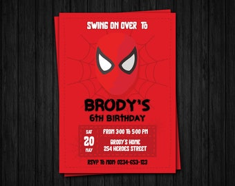 "Spiderman Invitation, Spiderman Party Invitation, Spiderman Birthday Invitation, 4x6 and 5x7"" size"