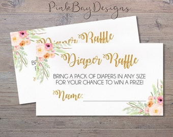 Floral Watercolor Diaper Raffle Ticket, Instant Download Baby Shower Diaper Raffle, Baby Shower Printable, Diaper Raffle Ticket
