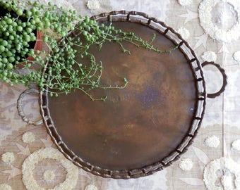 Vintage Brass Bamboo Round Tray with Handles, Engraved Name, James, Midcentury, Hollywood Regency, Bar tray, Trinket Tray, Boho Decor