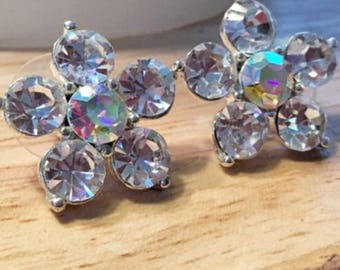 Gorgeous Rhinestone Flower Pierced Earrings/Ask for Free Shipping Coupon! *Limited Quantities Available*