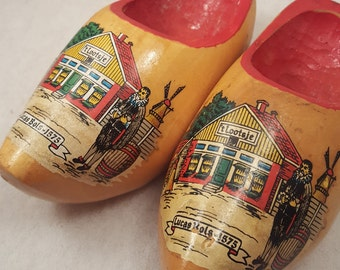 """Lucas Bols Distillery Wooden Clog Shoes, Vintage, Made in Holland, Collectible, Knick Knack, Handmade, 2.5"""" x 5.5"""""""