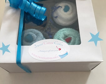 Set of 4 baby washcloth and sock cupcakes, baby boy, baby shower cupcakes, new baby gift, baby sock cupcakes, party favors
