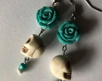 Turquoise Rose and White Skull Earrings
