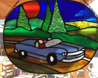 Stained glass 1950's Chevy road trip