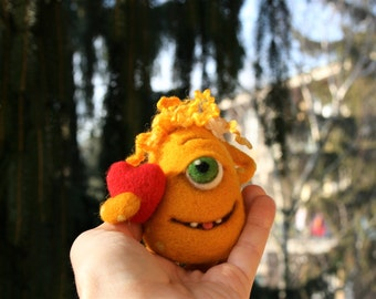 Blanche - Needle felted monster, Yellow monster, Wool sculpture