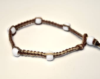 Hemp Cord Bracelet w/ white plastic beads