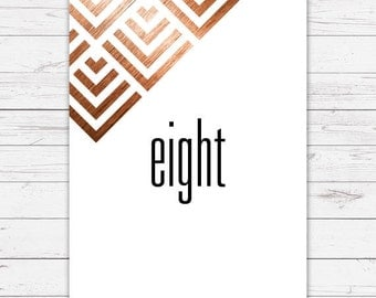 Wedding table numbers - Geometric design and beautifully printed