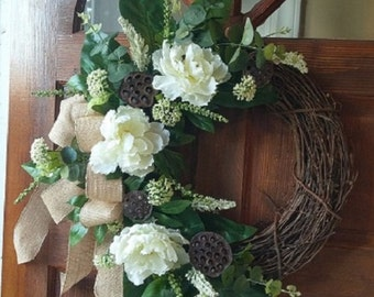 Everyday Wreath with Peonies, Lotus Pods and Mixed Greenery