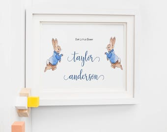 Our Little Bunny Personalised Named Print/ A4 Print/ Peter Rabbit New Baby Print/ Nursery Decor Print
