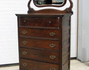 Original finish 5 Drawer Dresser with Mirror