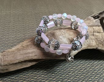 Pink and Antique Silver Large Memory Wire Bracelet