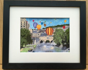 Balloons over Pultney Bridge in Georgian Bath, signed giclee print 5x7 inch