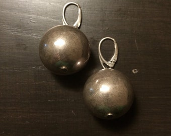 Silver 925 Ball Earrings 1990s