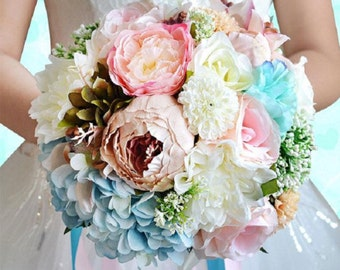 Spring colors wildflower bridal wedding bouquet