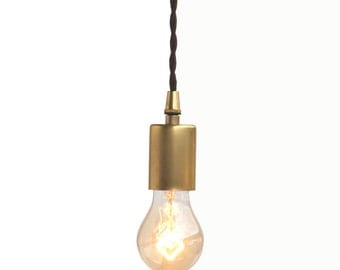 Raw unfinished brass pendant light with  unfinished brass canopy
