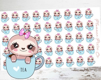 CiCi the Sloth // Planner Stickers // Sloth Planner Stickers // Tea Time // Tea Party
