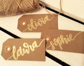 Personalised gift tag - embossed calligraphy gift label with your name or message