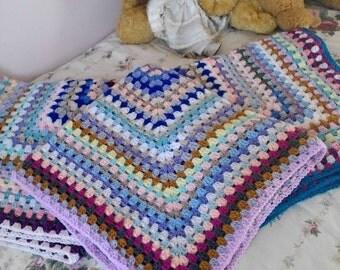 Crochet  granny blanket. Vintage, Retro