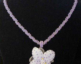 Purple and Grey Flower Necklace