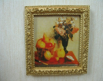 Miniature Dolls House Picture in gold frame