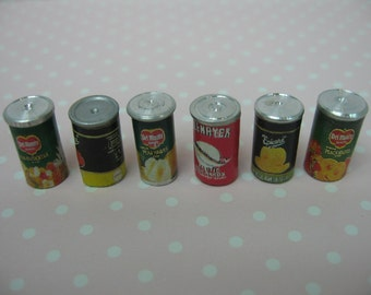 Dolls house miniature six assorted fruit can