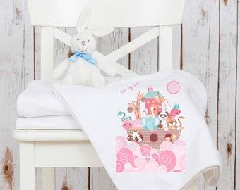 Noah's Ark girls baby blanket - baby shawl, baby shower gift, pink noahs ark, birthday gift, two by two, boat, animal blanket, baby girl
