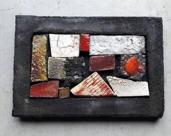 Ceramic painting 10 x 20, patchwork, mosaics, raku, stoneware, earthenware