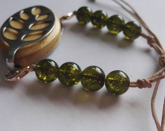 Bellabeat leaf bracelet adjustable bracelet with olive green beads and leather cord to wear with Bellabeat Leaf