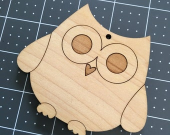 Wooden Owl Crafting Ornament - woodland cutout - wood owl cut out
