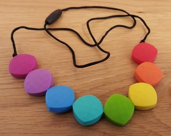 Rainbow Teething Necklace, Nursing Necklace, Silicone Necklace Quadrate Beads, Chew Necklace, Chew Jewelry, Mother's Day Gift, Gift for Mom
