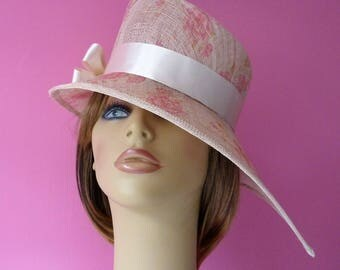 Rose pink cream hat   - Wedding -  Mother of the Bride - Ascot - Races - pink - cream - hat - wedding hat  - hatinator  - headpiece - flower