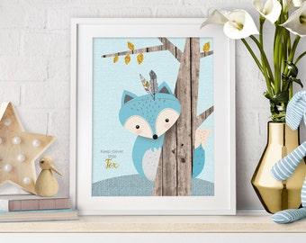 Baby Animal Fox, Woodlands Nursery, Nursery Wall Art, Rustic Nursery, Woodland Print Fox, Baby Fox printable, Fox Art printable, Boy Nursery