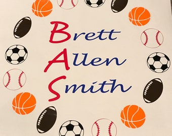 Personalized Sports Wall Decal